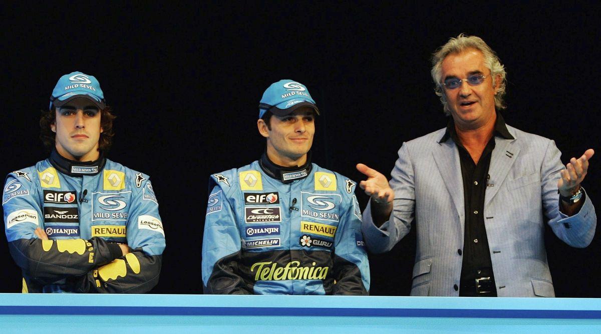 Fernando Alonso, Giancarlo Fisichella et Flavio Briatore (Renault) le 1er février 2005 à Monte Carlo