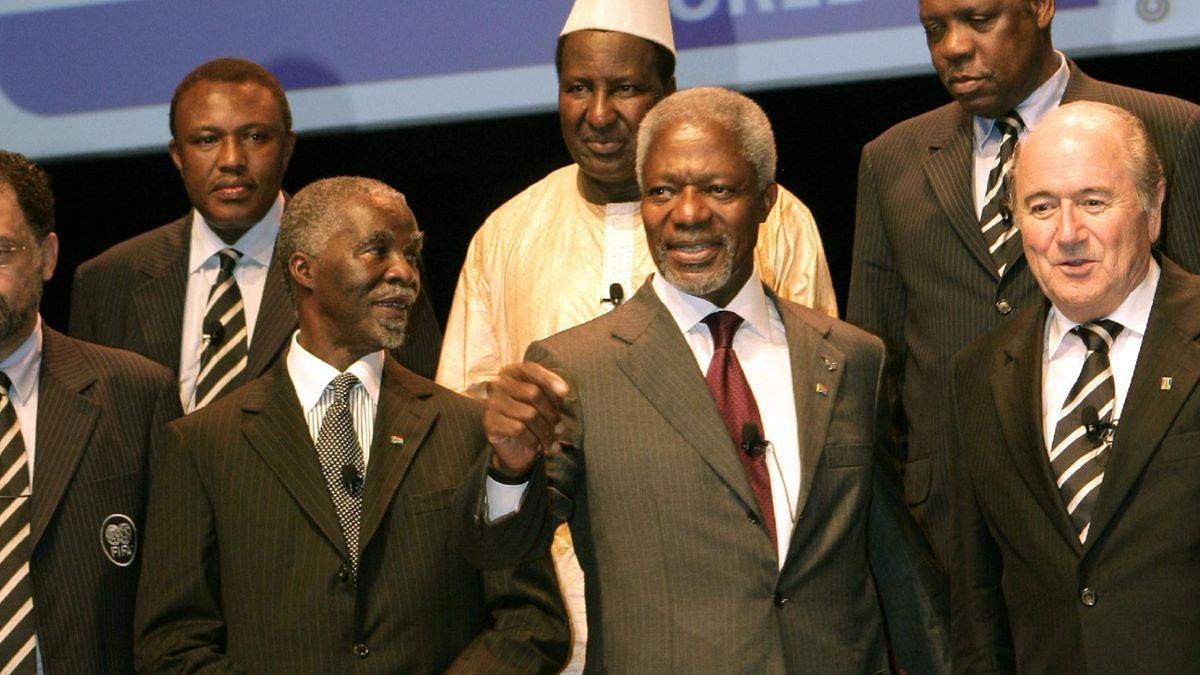FOOTBALL 2010 World Cup South Africa Annan Mbeki Blatter