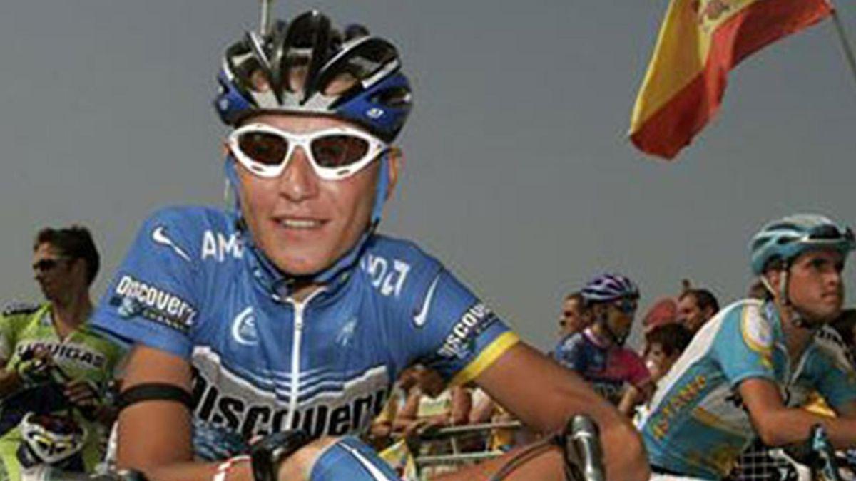 Janez Brajkovic, în 2006, când câștiga o etapă în Vuelta în tricoul Discovery