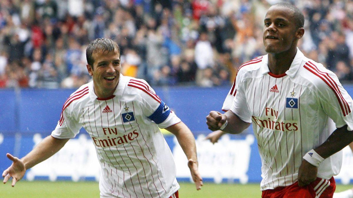 FOOTBALL 2007-2008 UEFA Cup Hamburg Chisinau van der Vaart Kompany