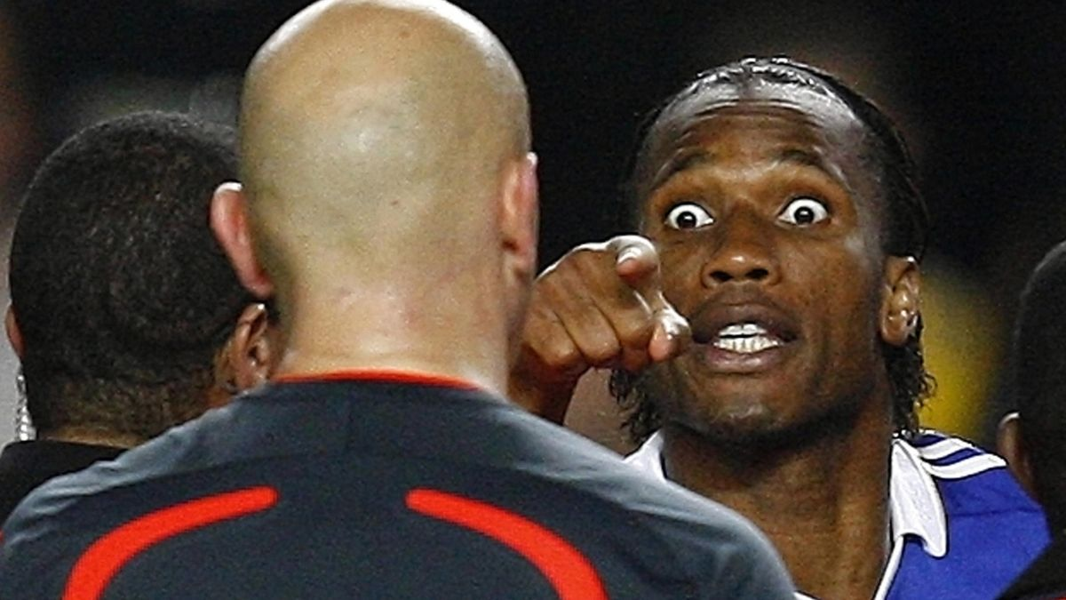 FOOTBALL 2008-09 Champions League Chelsea's Didier Drogba launches tirade at referee Tom Henning Ovrebo after final whistle
