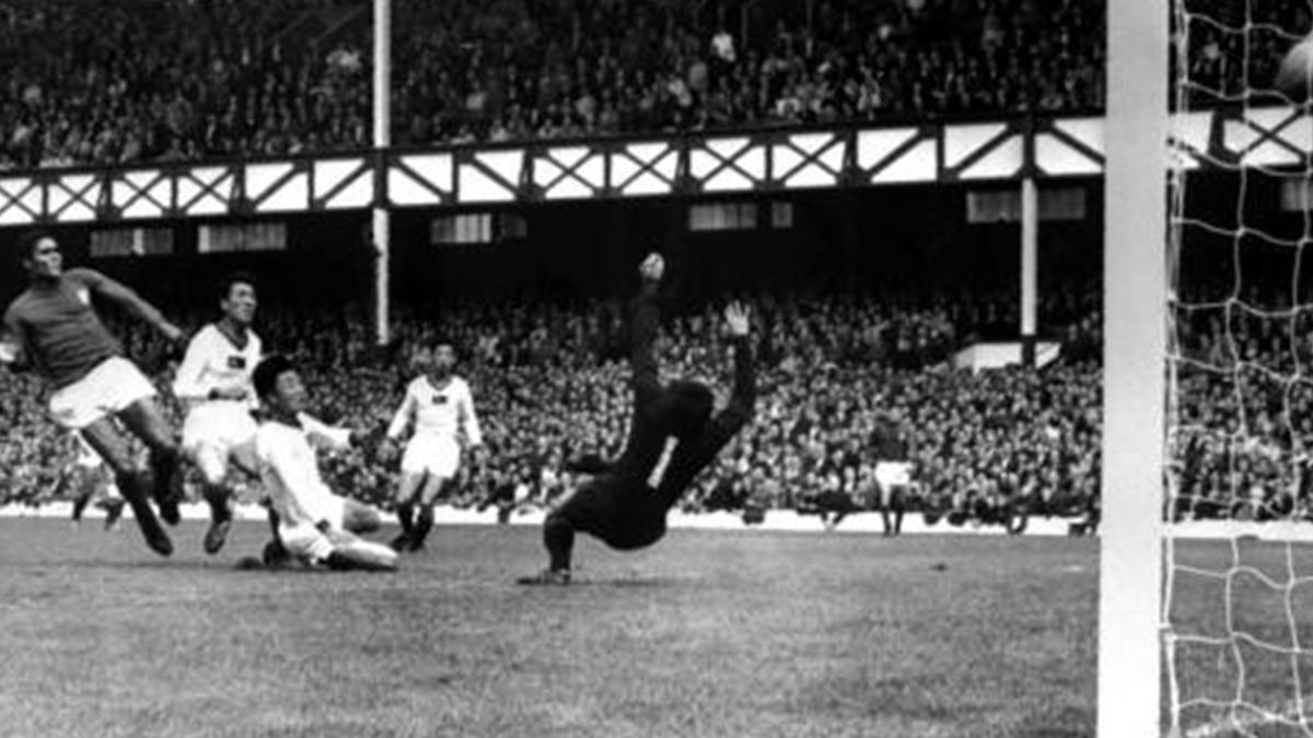 1966 World Cup quarter-final Portugal's Eusebio scores the first of his four goals in 5-3 win over North Korea