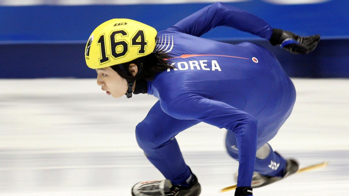 Korea's Si-Bak Sung skates during the 1000m men's final at the short track speed skating World Cup in Quebec City