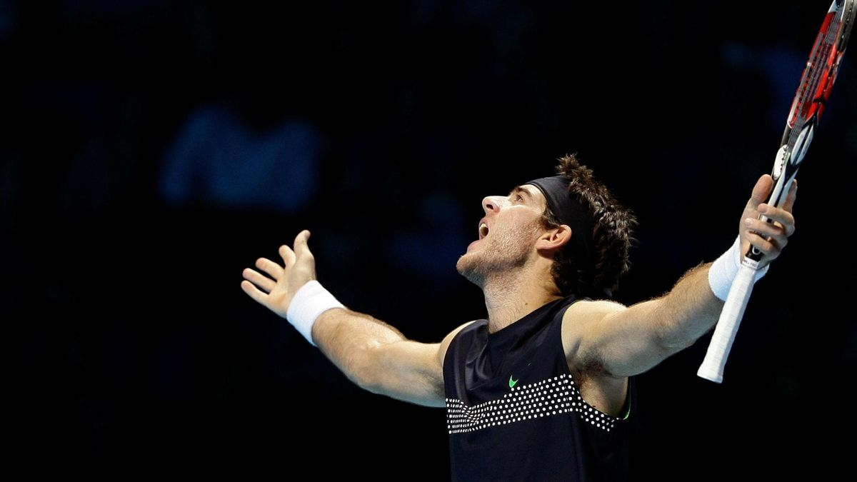 Juan Martin Del Potro of Argentina reacts during his ATP World Tour Finals tennis match against Roger Federer of Switzerland