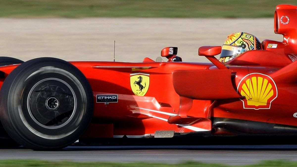 MotoGP world champion Valentino Rossi drives a F1 Ferrari car during a test session at Catalunya's racetrack in Montmelo