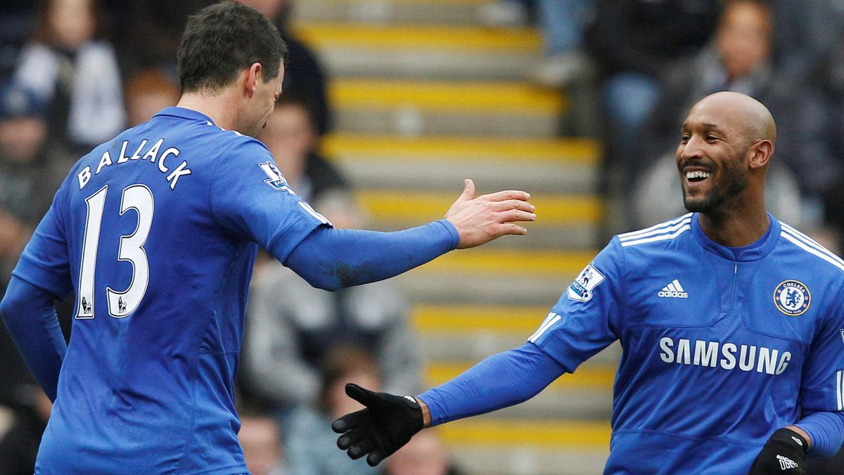 2009-10 Chelsea's Anelka celebrates with Ballack after scoring during their FA Cup match against Preston North End