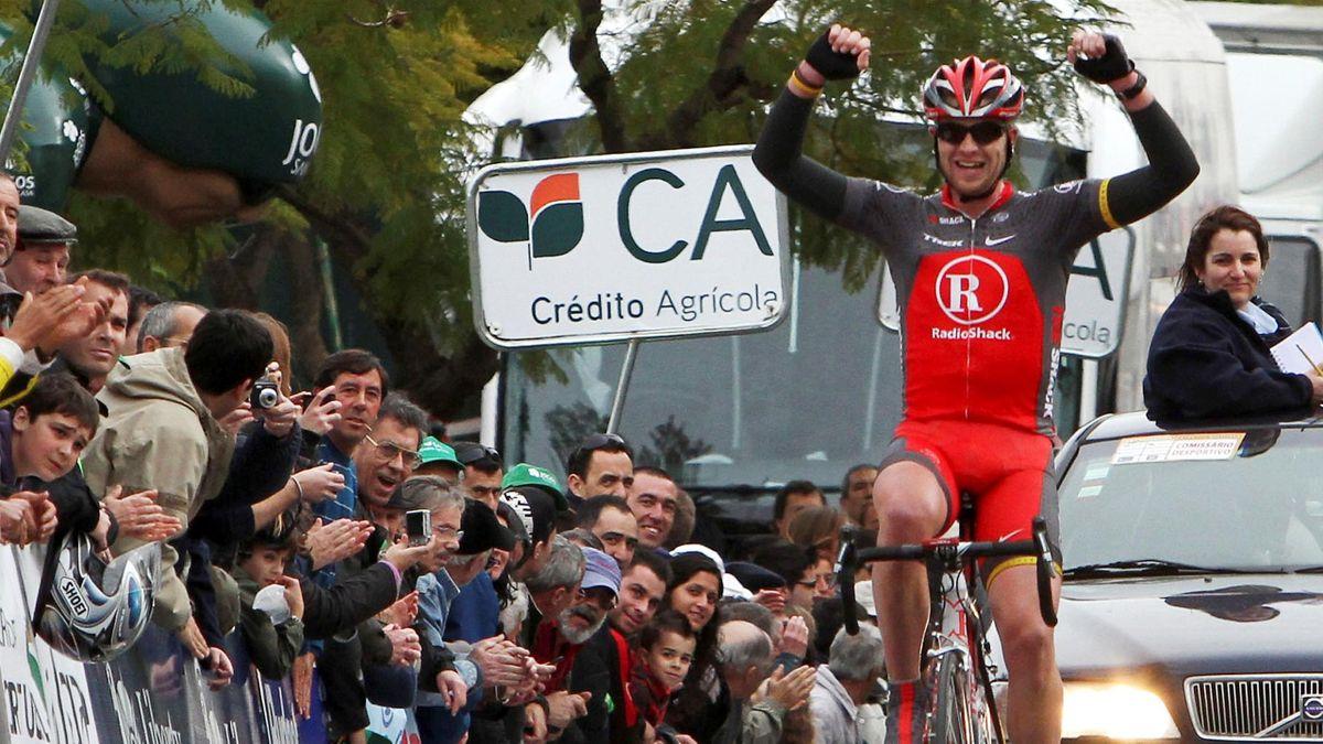 Radio Shack cyclist Sebastien Rosseler of Belgium crosses the finish line to win the fourth stage of the Algarve Volta