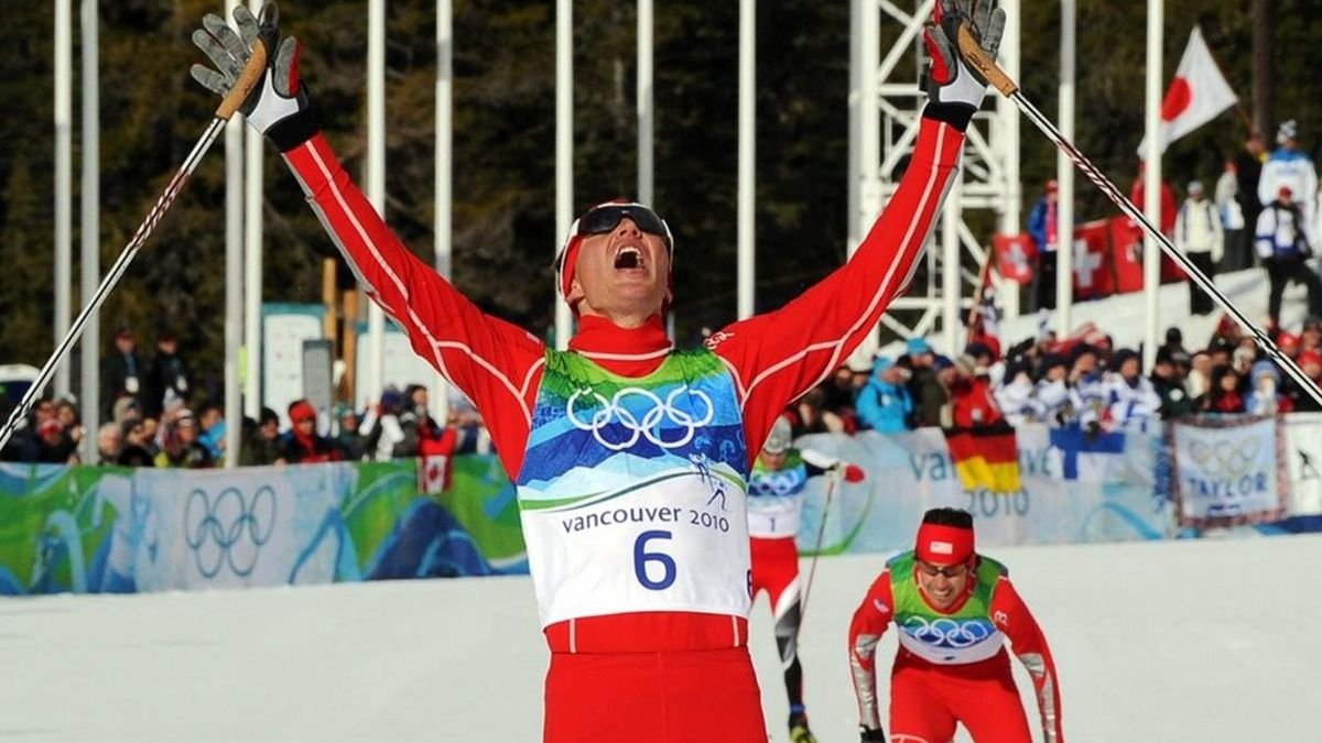 Bill Demong of the USA reacts at the finish line in 10km Cross Country as a portion of the Nordic Combined competition at the Vancouver 2010 Olympic Games