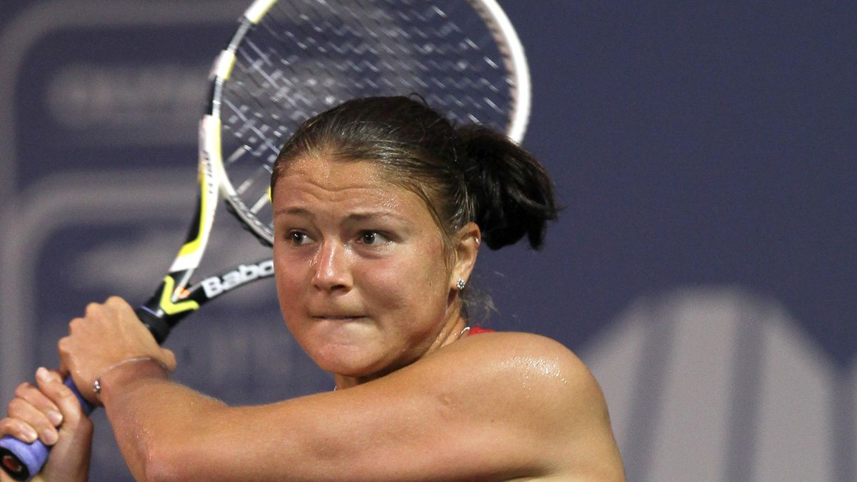 Dinara Safina of Russia hits a backhand to Alona Bondarenko of the Ukraine during their match in San Diego