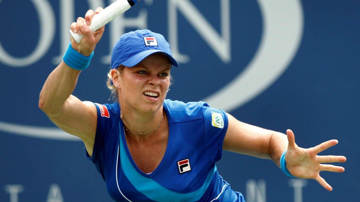 Kim Clijsters of Belgium plays against Petra Kvitova of the Czech Republic during the U.S. Open tennis tournament in New York