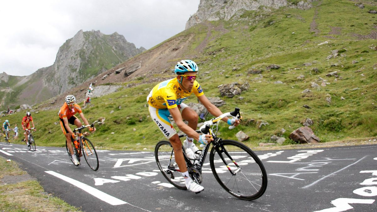 Astana's Alberto Contador of Spain cycles during the 16th stage of the Tour de France cycling race between Bagneres-de-Luchon and Pau
