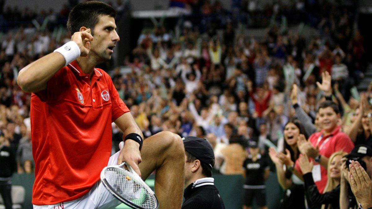 Novak Djokovic playing in the Davis Cup