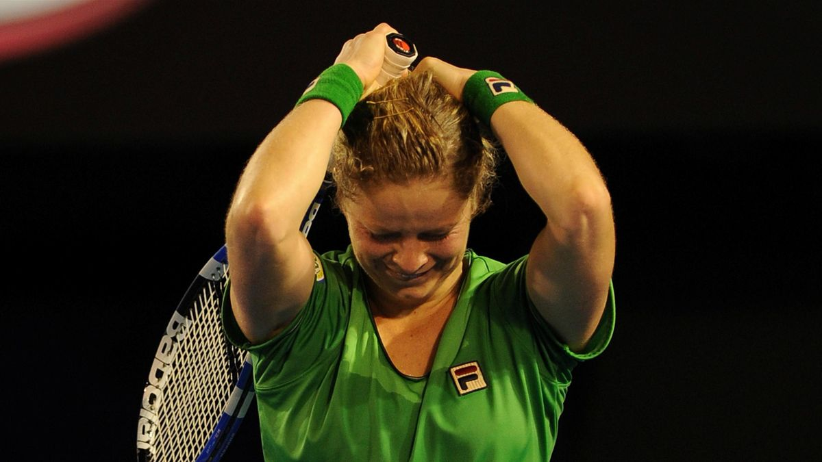 Kim Clijsters of Belgium gestures as she celebrates vcitory in her womens singles final