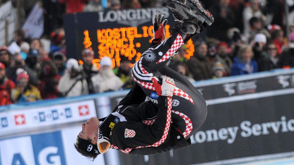 Croatian Ivica Kostelic celebrates