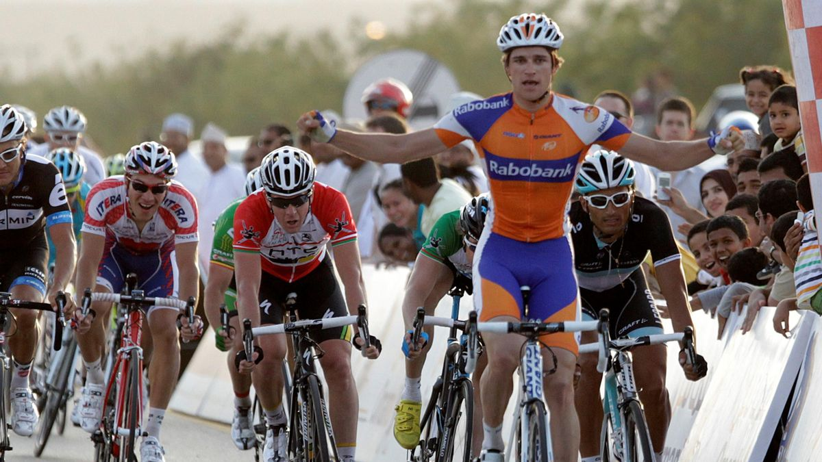 Rabobank team rider Theo Bos of the Netherlands reacts as he wins the 3rd stage of the 2nd Tour of Oman