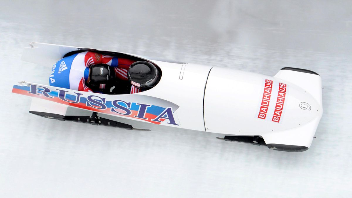 Russia's Alexandr Zubkov and Alexey Voyevoda compete in the two-men sled at the FIBT Bobsleigh World Championships 2011 in Koenigssee, southern Germany,