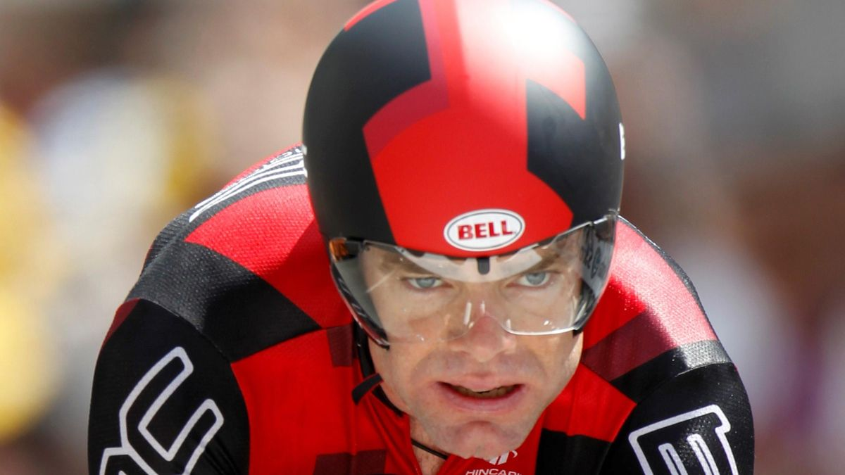 BMC Racing team rider Cadel Evans of Australia cycles during the individual time-trial 19th stage of the Tour de France
