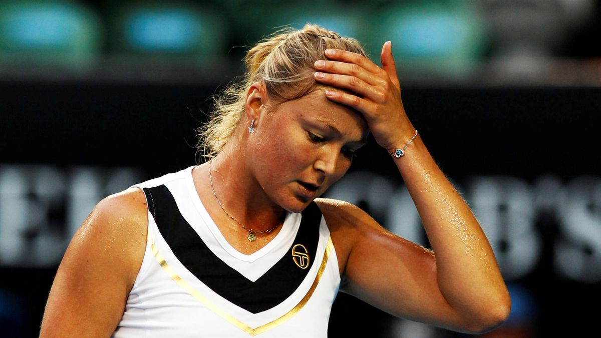 Dinara Safina of Russia reacts after losing to Kim Clijsters of Belgium after their match at the Australian Open