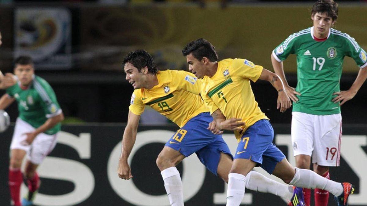 2011 FOOTBALL U20 World Cup Brazil's Henrique and Dudu