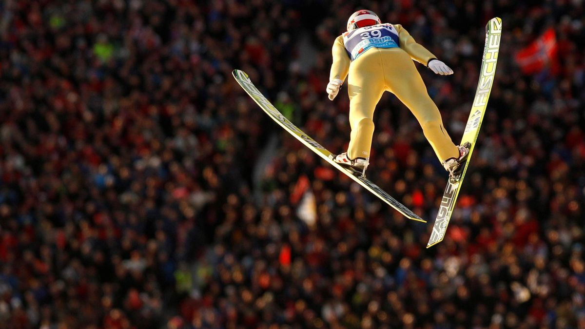 Slovenia's Robert Kranjec soars through the air during the first round of the Ski-Flying World Championships in Vikersund