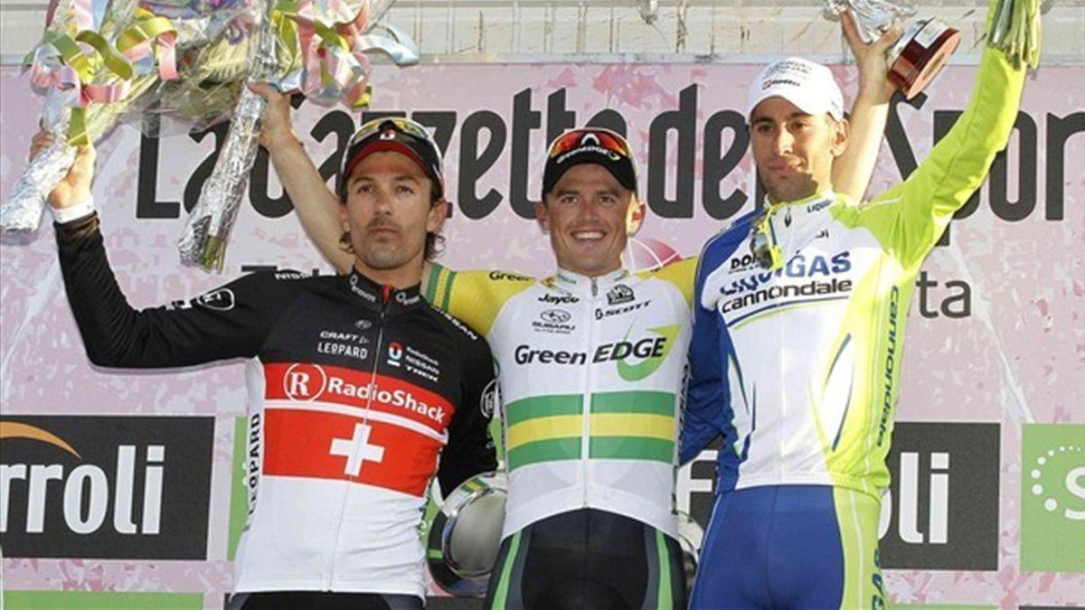 2012 Milan Sanremo Podium Cancellara Gerrans Nibali