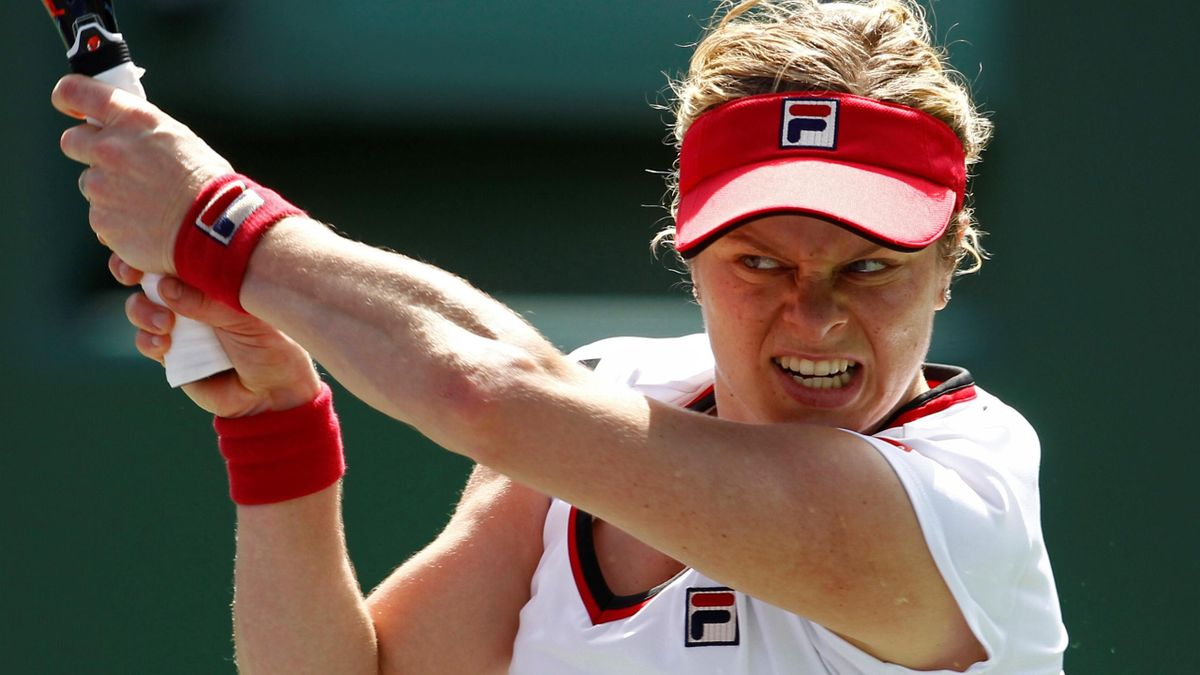 Kim Clijsters of Belgium hits a backhand during her match against Jarmila Gajdosova of Australia at the Sony Ericsson Open tennis tournament in Key Biscayne, Florida, March 21, 2012.