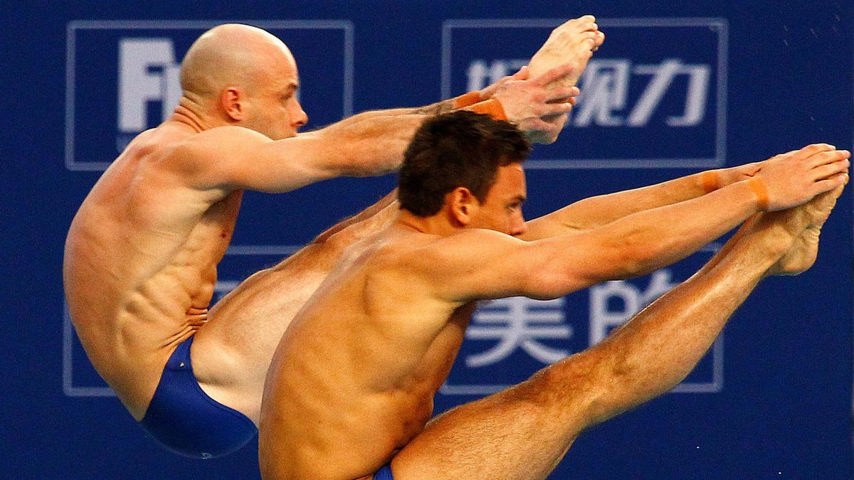 OLYMPIC GAMES Britain's Thomas Daley (R) and Peter Waterfield compete during the men's synchronized platform final at the FINA Diving World Series being held at the National Aquatics Centre, also known as the Water Cube, in Beijing March 23, 2012