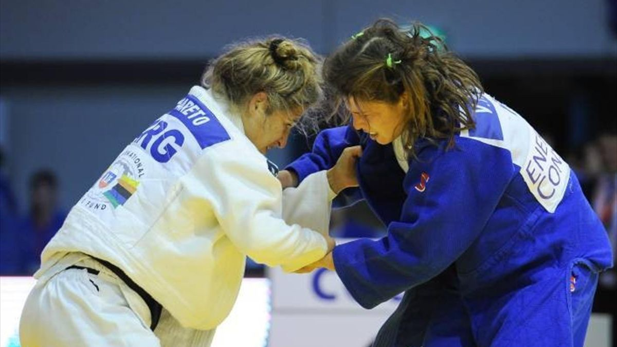 Paula Pareto of Argentina battles Valentina Moscatt of Italy at IJF Judo Grand Prix