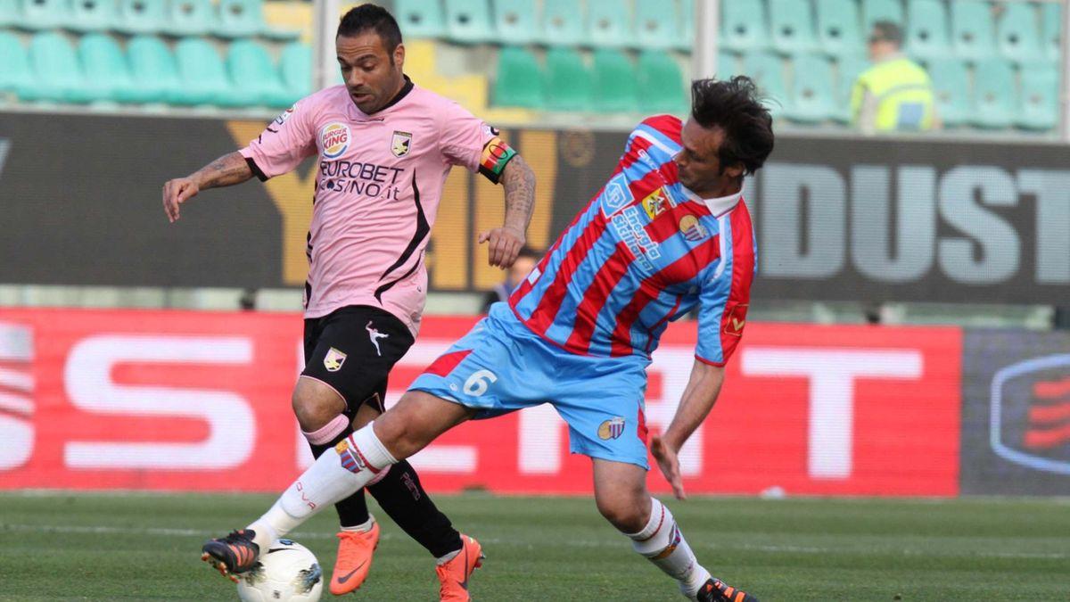2011-12 Serie A Palermo-Catania Miccoli e Legrottaglie AP/LaPresse