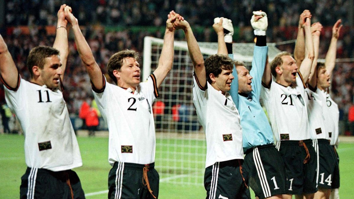 Germany celebrate a penalty victory over England at Euro 96 (Reuters)