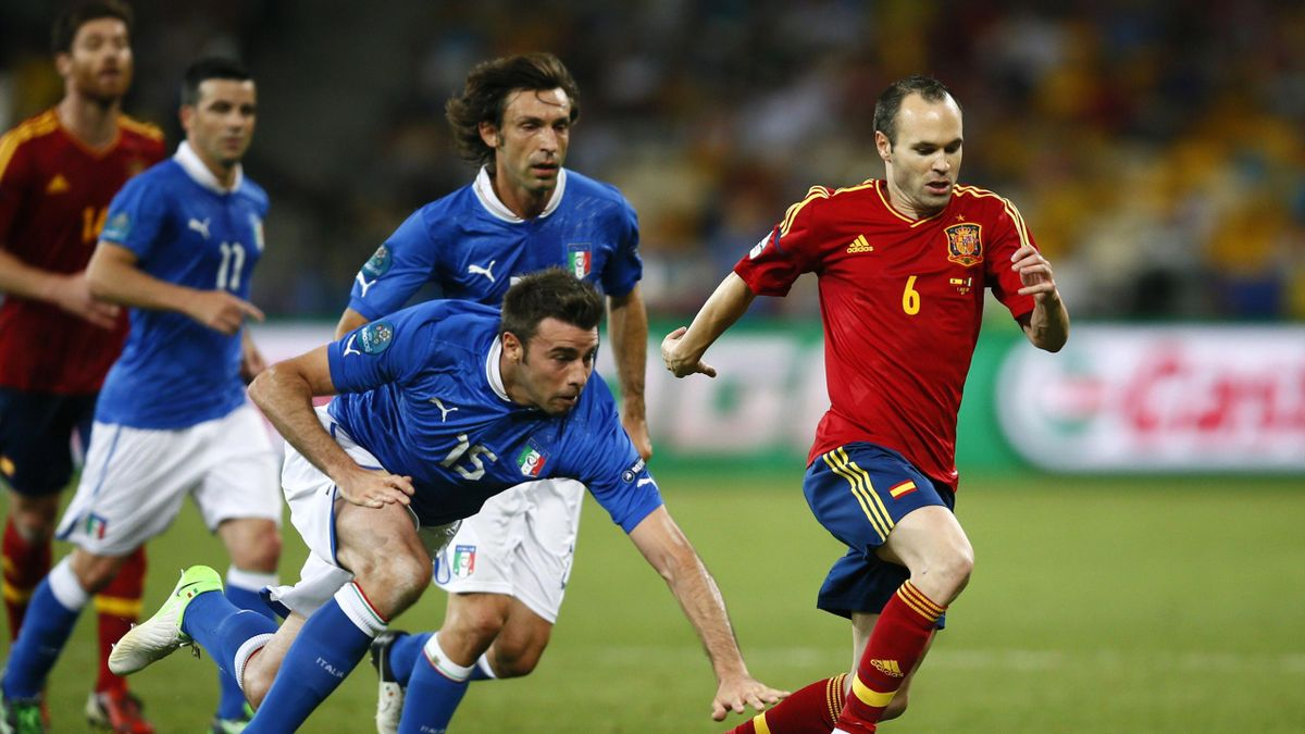 Andres Iniesta takes on Italy in the Euro 2012 final (Reuters)