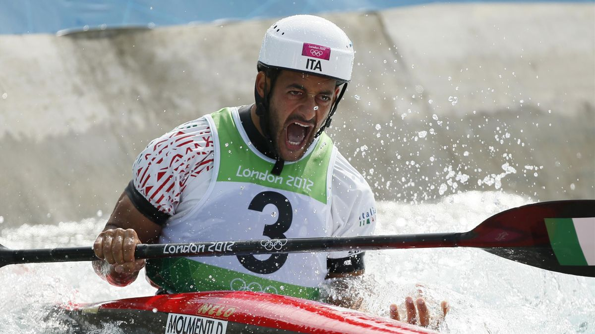 Italy's Daniele Molmenti reacts after his men's kayak (K1) finals run at Lee Valley White Water Centre during the London 2012 Olympic Games reacts after his men's kayak (K1) finals run (Reuters)