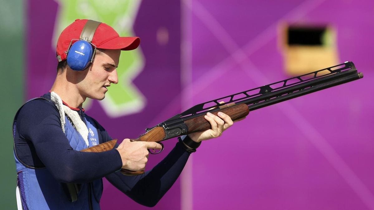 Peter Wilson competes in the London 2012 Olympic double trap