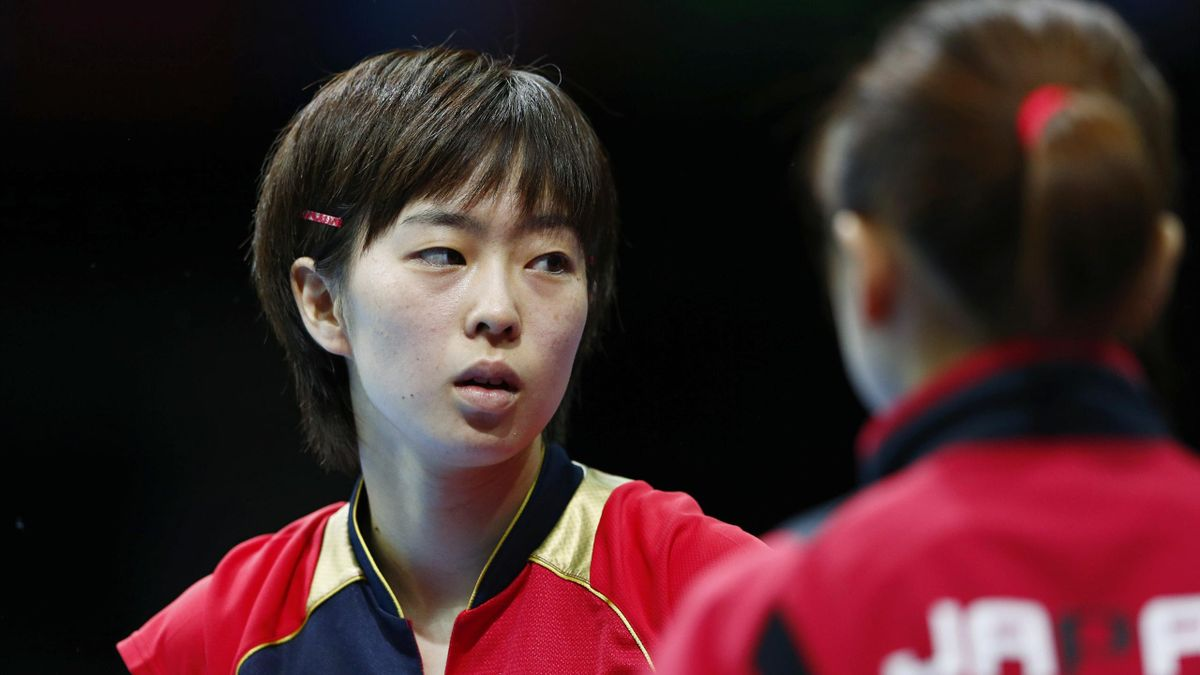 Japan's Kasumi Ishikawa reacts in their women's team quarterfinals table tennis match against Germany's Wu Jiaduo at the ExCel venue during the London 2012 Olympic Games (Reuters)