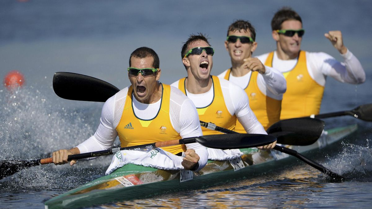 Australia's Tate Smith, David Smith, Murray Stewart and Jacob Clear celebrate winning the men's kayak four (K4) 1000m finals at Eton Dorney during the London 2012 Olympics Games