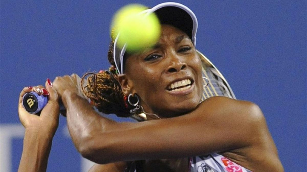 Venus Williams of the US hits a return to Angelique Kerber of Germany at the US Open (Reuters)
