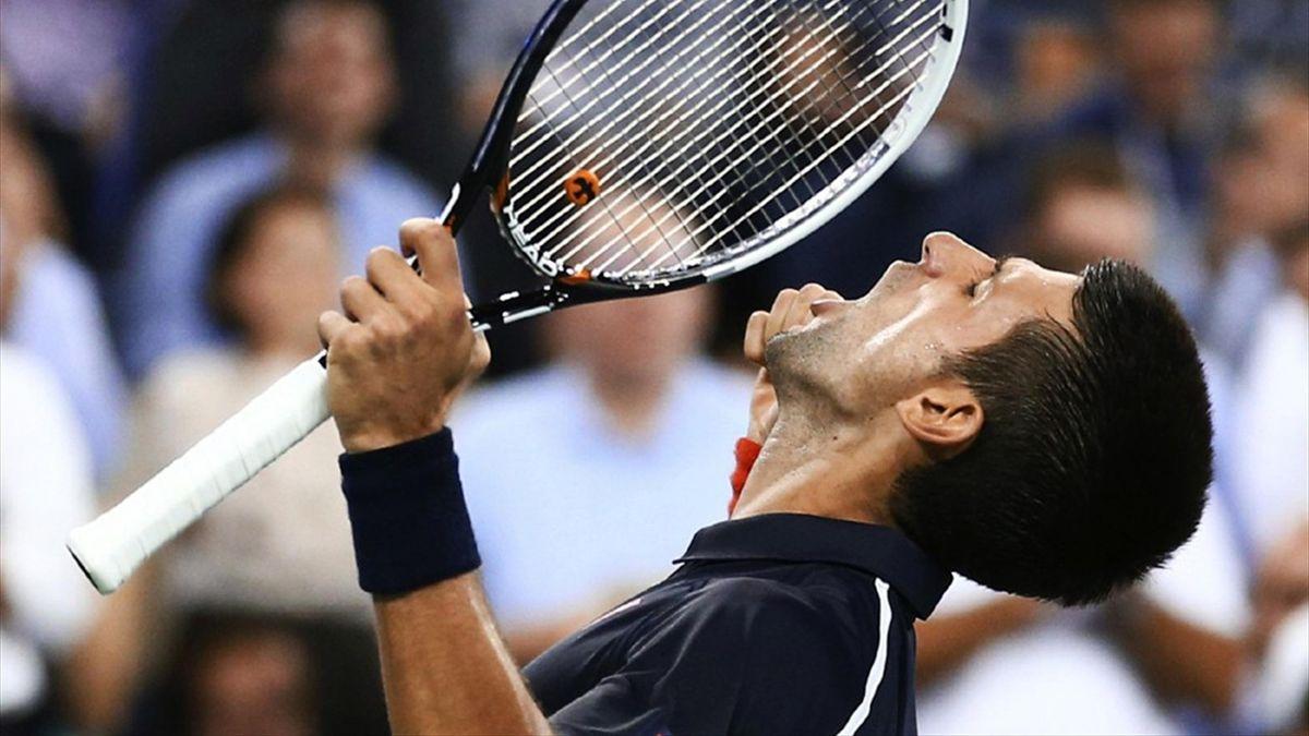 Novak Djokovic celebrates during his quarter-final against Juan Martin Del Potro at the US Open (Reuters)