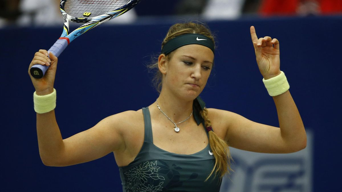 Victoria Azarenka of Belarus reacts during the semi final match against Irina-Camelia Begu of Romania during at the Linz WTA tennis tournament held in Linz