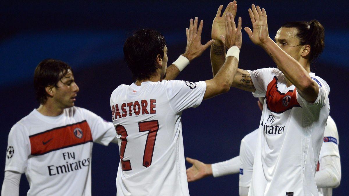 FOOTBALL - 2012/2013 - Dinamo Zagreb-PSG - Ibrahimovic - Pastore