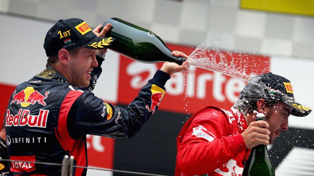 2012 Indian GP Red Bull Ferrari Vettel Alonso
