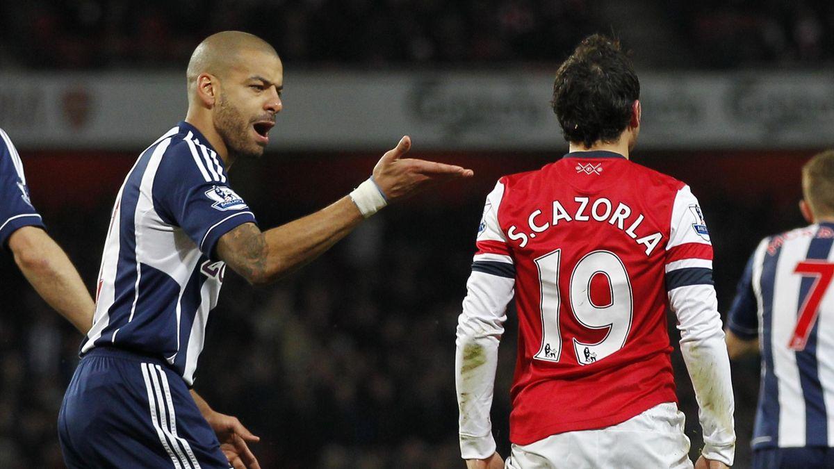 Steven Reid and Santi Cazorla, Arsenal v West Brom