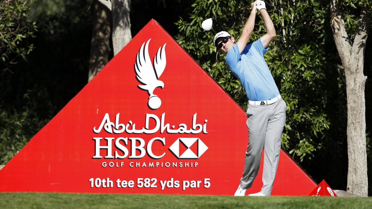 Justin Rose of England tees off at the 10th hole during the third round of the Abu Dhabi Golf Championship (Reuters)