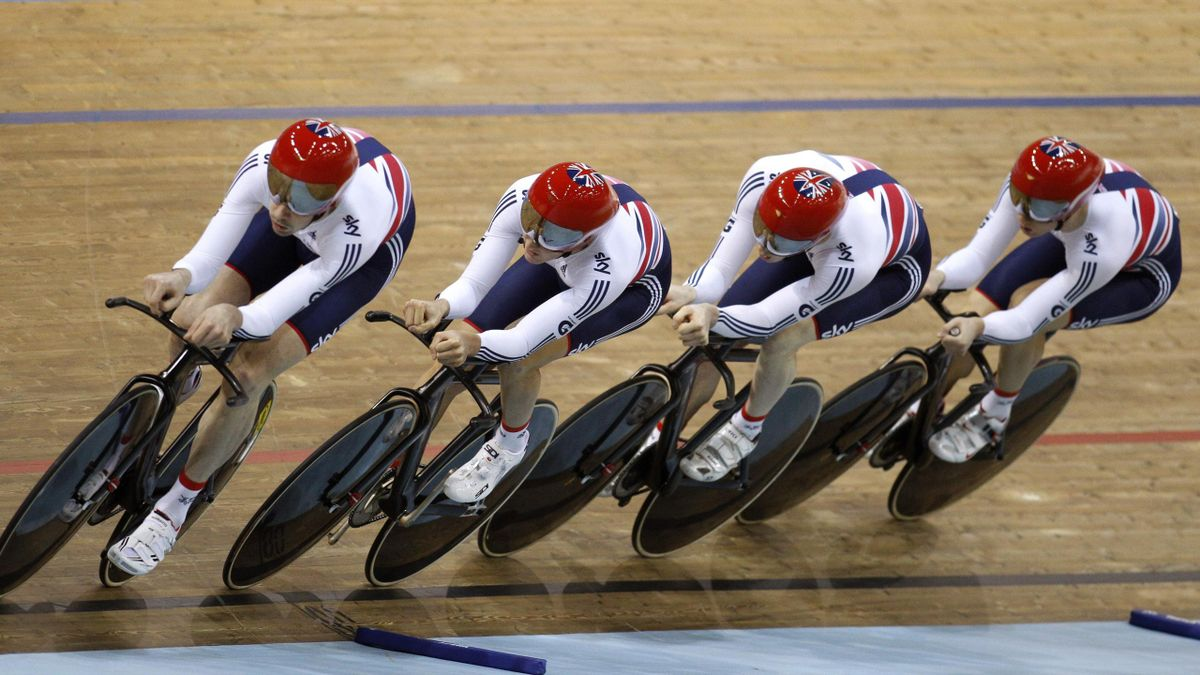 Great Britain's Steven Burke, Edward Clancy, Samuel Harrison and Andrew Tennant compete during the men's team pursuit at the 2013 UCI Track Cycling World Championships in Minsk (Reuters)