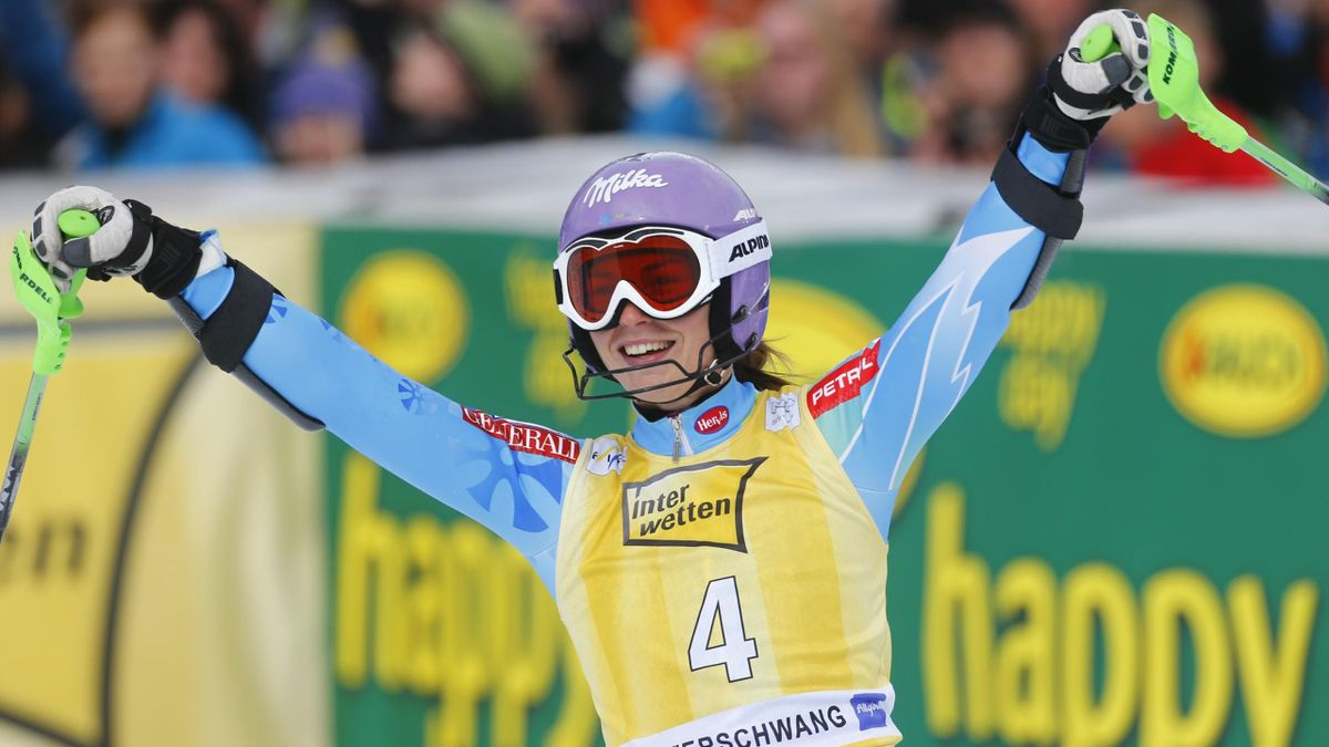 Tina Maze of Slovenia reacts after winning the women's Alpine Skiing World Cup slalom race in Ofterschwang March 10, 2013. REUTERS
