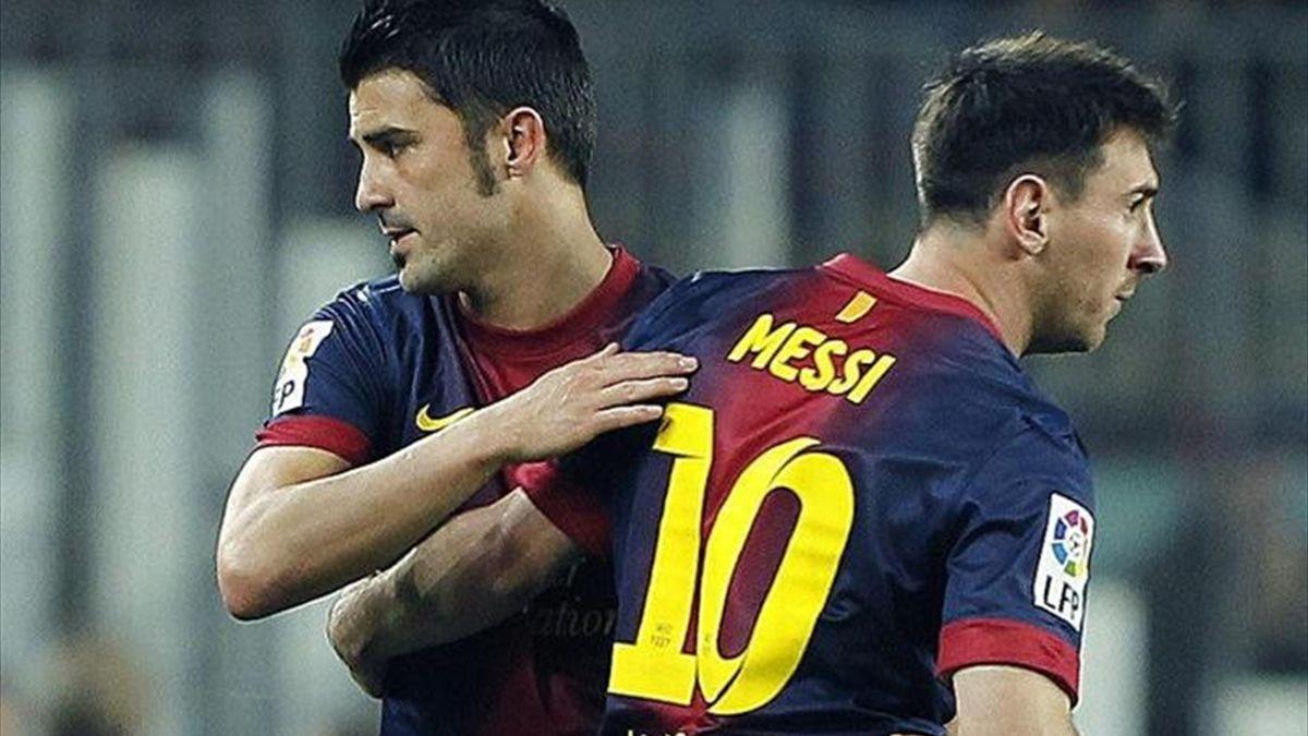 David Villa y Lionel Messi.
