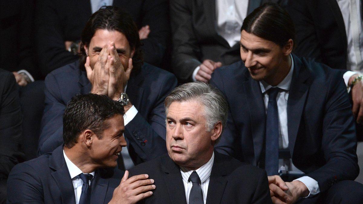 FOOTBALL PSG Carlo Ancelott Thiago Silva Salvatore Sirigu  Ibrahimovic