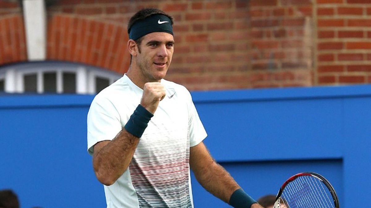 Juan Martin Del Potro celebrates winning a match at Queen's (Reuters)