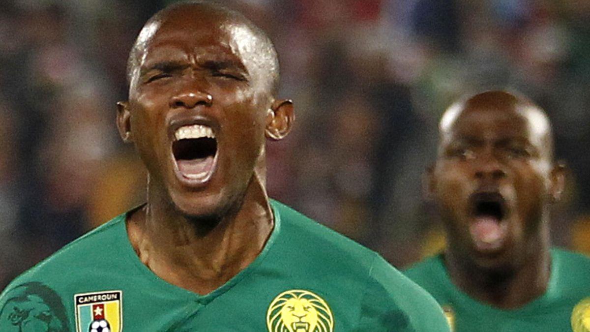 Kamerunlu golcü Samuel Eto'o'nun gol sevinci