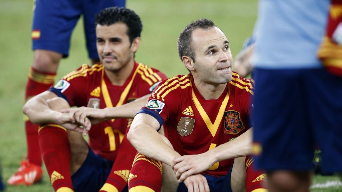 Spain's Iniesta and Pedro