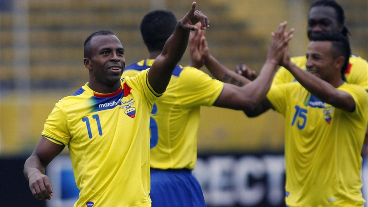 Christian Benitez celebrates a goal with his Ecuador team-mates (Reuters)